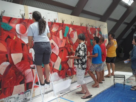 Artists working on the Mural in 2015