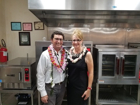 Chris Speere of UH Maui and Jami Burks of The Makana Aloha Foundation at the blessing of the Research and Test Kitchen