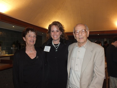 Dr. and Mrs. George Feher with Makana Aloha President, Jami Burks celebrating the full funding of the endowed chair in Experimental Biophysics in  2013