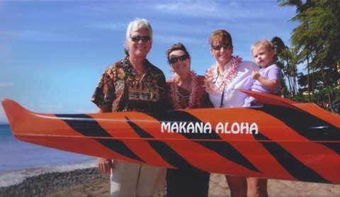 Makana Aloha board at the blessing of the Lahaina Canoe Club-Donation of Canoe blessing (Jan 2011)
