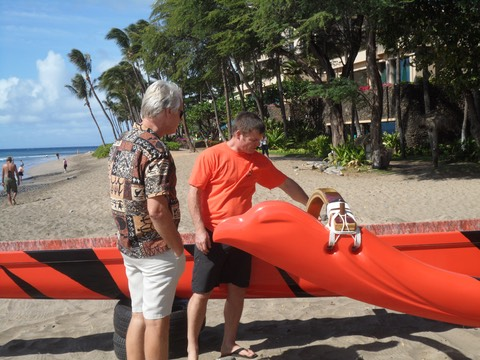 Makana Aloha founder, Gunars Valkirs and Lahaina Canoe Club president, Adam Quinn discuss the new canoe a the blessing of the canoe