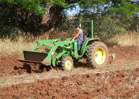 The newly repaired tractor at work at the Lahainaluna High School Agriculture department
