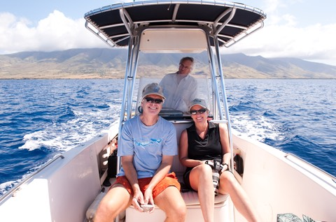 Whale Trust Founders Dr. Meagan Jones and Dr. Jim Darling and Makana Aloha Founder, Gunars Valkirs